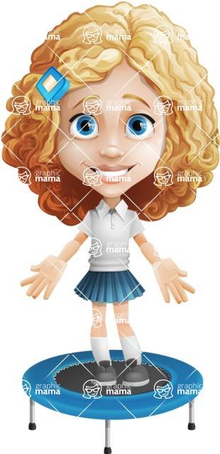 Little Blonde Girl with Curly Hair Cartoon Vector Character AKA Ella Sugarsweet - Trampoline