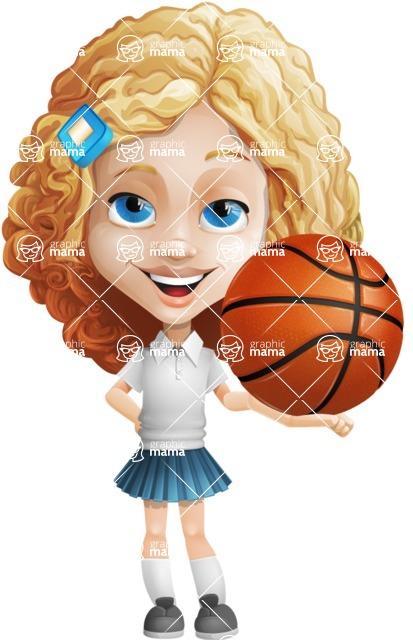 Little Blonde Girl with Curly Hair Cartoon Vector Character AKA Ella Sugarsweet - Basketball