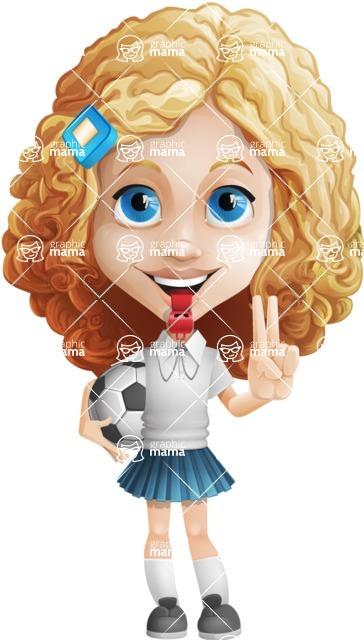 Little Blonde Girl with Curly Hair Cartoon Vector Character AKA Ella Sugarsweet - Socker