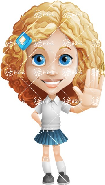 Little Blonde Girl with Curly Hair Cartoon Vector Character AKA Ella Sugarsweet - Wave