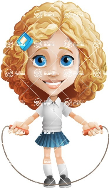 Little Blonde Girl with Curly Hair Cartoon Vector Character AKA Ella Sugarsweet - Skipping Rope
