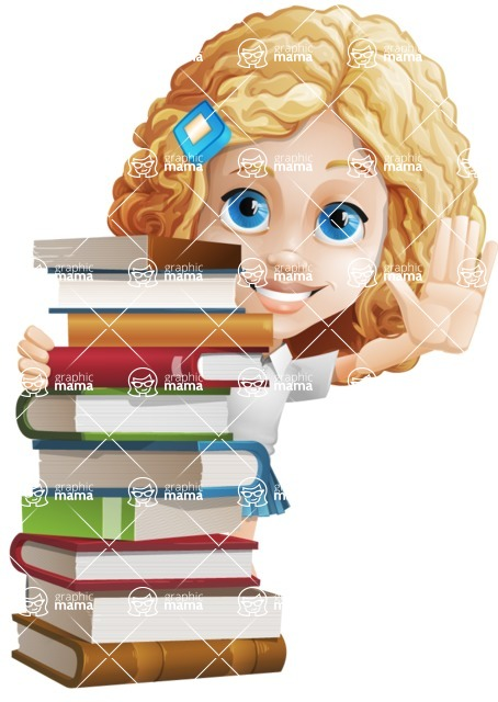 Little Blonde Girl with Curly Hair Cartoon Vector Character AKA Ella Sugarsweet - Books