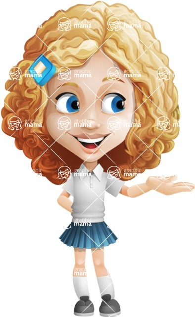 Little Blonde Girl with Curly Hair Cartoon Vector Character AKA Ella Sugarsweet - Showcase
