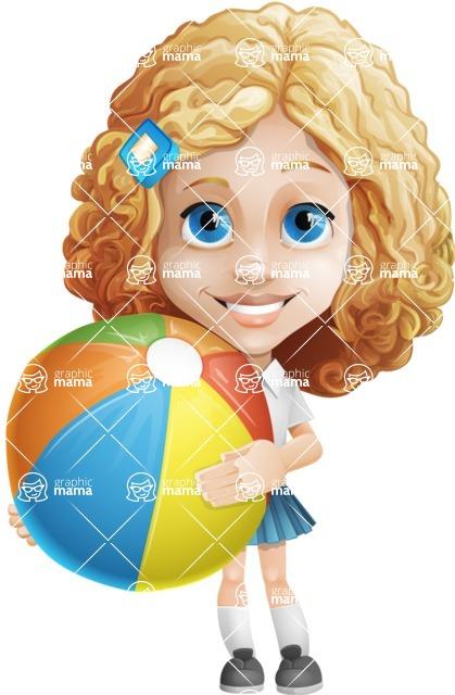 Little Blonde Girl with Curly Hair Cartoon Vector Character AKA Ella Sugarsweet - Beach 1