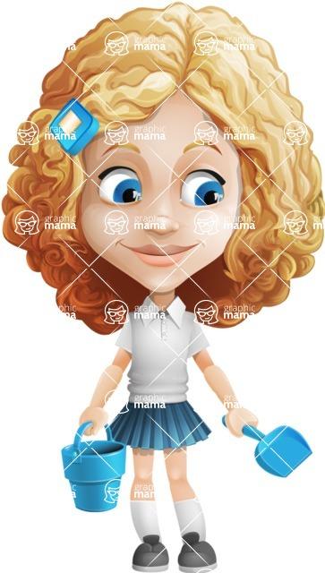 Little Blonde Girl with Curly Hair Cartoon Vector Character AKA Ella Sugarsweet - Beach 3