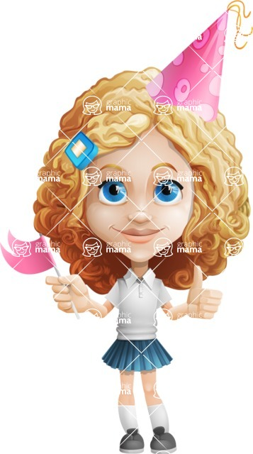Little Blonde Girl with Curly Hair Cartoon Vector Character AKA Ella Sugarsweet - Party 1