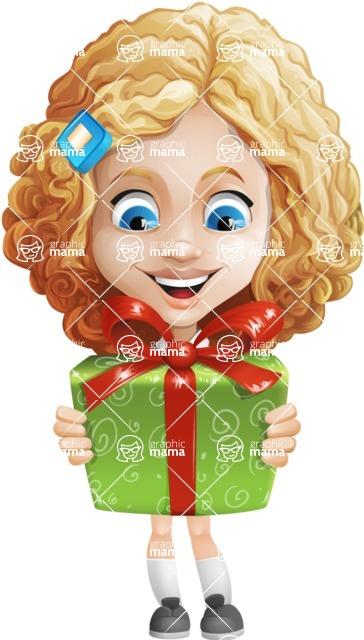 Little Blonde Girl with Curly Hair Cartoon Vector Character AKA Ella Sugarsweet - Gift
