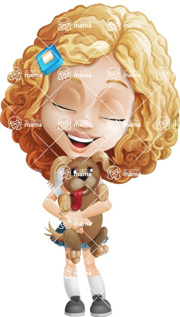Little Blonde Girl with Curly Hair Cartoon Vector Character AKA Ella Sugarsweet - Puppy