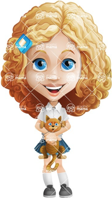 Little Blonde Girl with Curly Hair Cartoon Vector Character AKA Ella Sugarsweet - Kitty