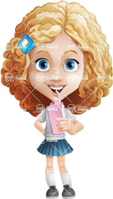 Little Blonde Girl with Curly Hair Cartoon Vector Character AKA Ella Sugarsweet - Shake