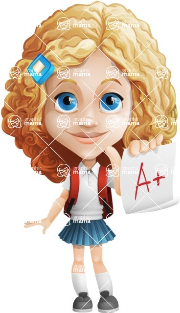 Little Blonde Girl with Curly Hair Cartoon Vector Character AKA Ella Sugarsweet - Score