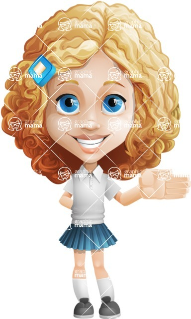 Little Blonde Girl with Curly Hair Cartoon Vector Character AKA Ella Sugarsweet - Show
