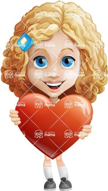 Little Blonde Girl with Curly Hair Cartoon Vector Character AKA Ella Sugarsweet - Love