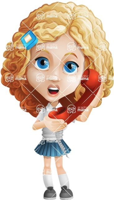 Little Blonde Girl with Curly Hair Cartoon Vector Character AKA Ella Sugarsweet - Phone