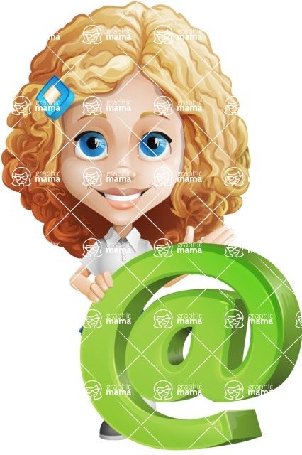 Little Blonde Girl with Curly Hair Cartoon Vector Character AKA Ella Sugarsweet - Mail