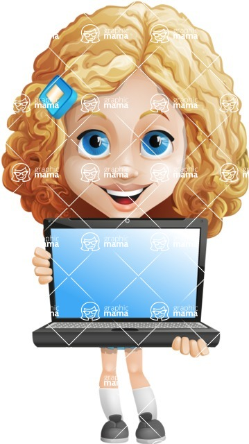 Little Blonde Girl with Curly Hair Cartoon Vector Character AKA Ella Sugarsweet - Laptop 1