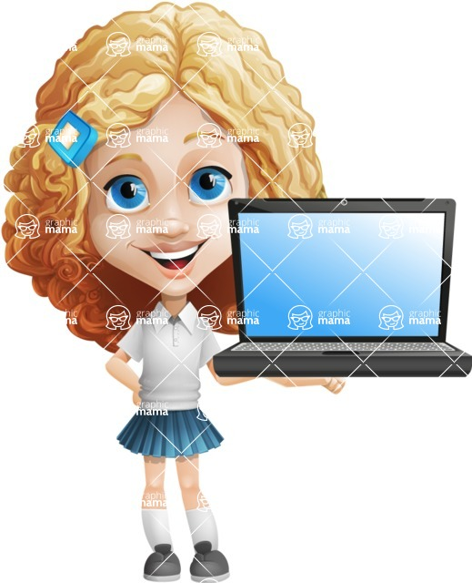 Little Blonde Girl with Curly Hair Cartoon Vector Character AKA Ella Sugarsweet - Laptop 2