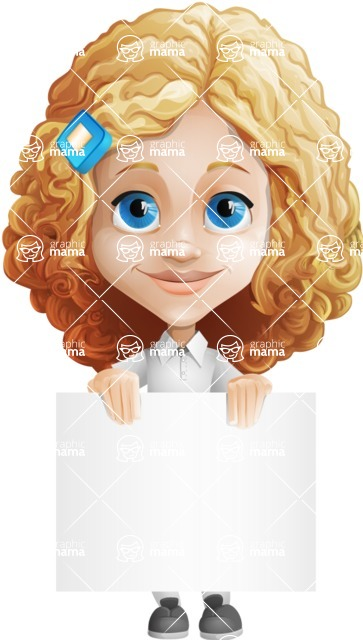 Little Blonde Girl with Curly Hair Cartoon Vector Character AKA Ella Sugarsweet - Sign 2