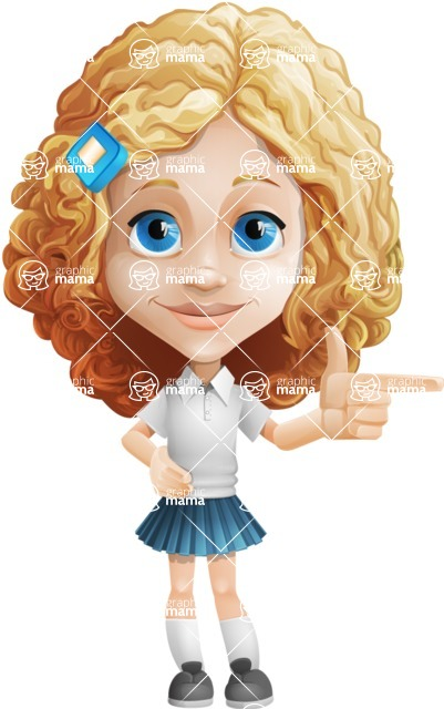 Little Blonde Girl with Curly Hair Cartoon Vector Character AKA Ella Sugarsweet - Point
