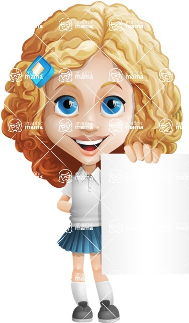 Little Blonde Girl with Curly Hair Cartoon Vector Character AKA Ella Sugarsweet - Sign 4