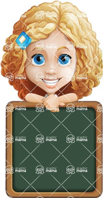 Little Blonde Girl with Curly Hair Cartoon Vector Character AKA Ella Sugarsweet - Presentation 2