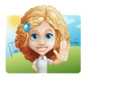 Little Blonde Girl with Curly Hair Cartoon Vector Character AKA Ella Sugarsweet - Shape 1