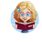 Little Blonde Girl with Curly Hair Cartoon Vector Character AKA Ella Sugarsweet - Shape 2