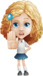 Little Blonde Girl with Curly Hair Cartoon Vector Character AKA Ella Sugarsweet - Stop