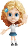 Little Blonde Girl with Curly Hair Cartoon Vector Character AKA Ella Sugarsweet - Hello