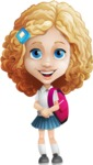 Little Blonde Girl with Curly Hair Cartoon Vector Character AKA Ella Sugarsweet - Backpack