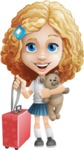 Little Blonde Girl with Curly Hair Cartoon Vector Character AKA Ella Sugarsweet - Travel