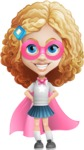 Little Blonde Girl with Curly Hair Cartoon Vector Character AKA Ella Sugarsweet - Super Girl