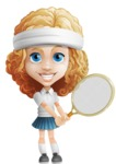 Little Blonde Girl with Curly Hair Cartoon Vector Character AKA Ella Sugarsweet - Tennis