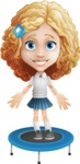 Little Blonde Girl with Curly Hair Cartoon Vector Character AKA Ella Sugarsweet - Trampoline