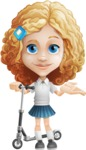 Little Blonde Girl with Curly Hair Cartoon Vector Character AKA Ella Sugarsweet - Scooter