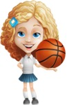Little Blonde Girl with Curly Hair Cartoon Vector Character AKA Ella Sugarsweet - Basketball