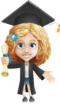 Little Blonde Girl with Curly Hair Cartoon Vector Character AKA Ella Sugarsweet - Graduate