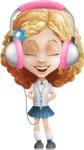 Little Blonde Girl with Curly Hair Cartoon Vector Character AKA Ella Sugarsweet - Music 3