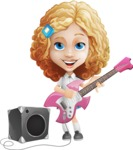 Little Blonde Girl with Curly Hair Cartoon Vector Character AKA Ella Sugarsweet - Music 4