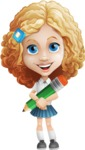 Little Blonde Girl with Curly Hair Cartoon Vector Character AKA Ella Sugarsweet - Pencil