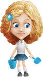 Little Blonde Girl with Curly Hair Cartoon Vector Character AKA Ella Sugarsweet - Beach 3