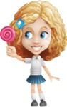 Little Blonde Girl with Curly Hair Cartoon Vector Character AKA Ella Sugarsweet - Candy