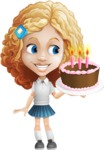 Little Blonde Girl with Curly Hair Cartoon Vector Character AKA Ella Sugarsweet - Party 2