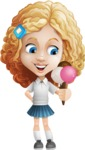 Little Blonde Girl with Curly Hair Cartoon Vector Character AKA Ella Sugarsweet - Ice Cream