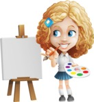 Little Blonde Girl with Curly Hair Cartoon Vector Character AKA Ella Sugarsweet - Painting