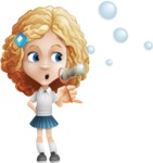 Little Blonde Girl with Curly Hair Cartoon Vector Character AKA Ella Sugarsweet - Soap Bubbles