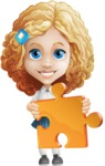 Little Blonde Girl with Curly Hair Cartoon Vector Character AKA Ella Sugarsweet - Puzzle