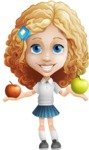 Little Blonde Girl with Curly Hair Cartoon Vector Character AKA Ella Sugarsweet - Apples