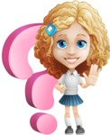 Little Blonde Girl with Curly Hair Cartoon Vector Character AKA Ella Sugarsweet - Question