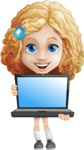 Little Blonde Girl with Curly Hair Cartoon Vector Character AKA Ella Sugarsweet - Laptop 1